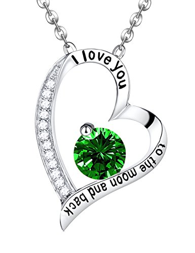 Valentine Jewelry Gift Emerald Necklace Jewelry ❤️ I Love You to the Moon and Back❤️ Sterling Silver Pendant Necklace Gifts for Women Mom Wife Daughter Grandma Birthday Xmas Anniversary