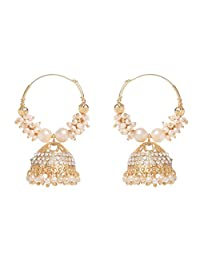 Shimmery Stone Crystal Pearl JhAumki Indian Style Bollywood Style Designer Jhumka Earrings