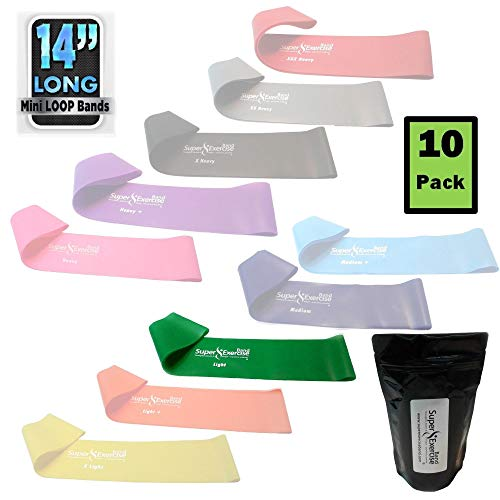 "Super Exercise Band 10 Pack 14"" x 3"" Extra Long Green LIGHT"