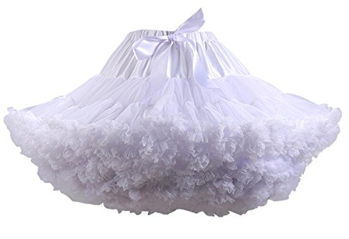 FOLOBE Adult Luxurious Soft Chiffon Petticoat Tulle Tutu Skirt Women's Tutu Costume Petticoat Ballet Dance Multi-layer Puffy Skirt,Small / Medium,White