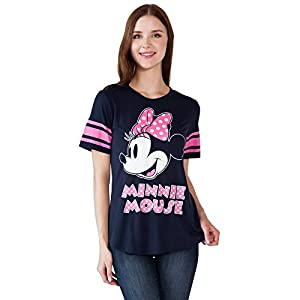Disney Women's Fitted T-Shirt Minnie Mouse Football Jersey (Navy, XL)