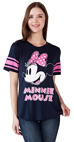 Disney Women's Fitted T-Shirt Minnie Mouse Football Jersey (Navy, ()