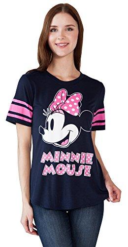 Football Jersey Dress (Disney Women's Fitted T-Shirt Minnie Mouse Football Jersey (Navy, XL))