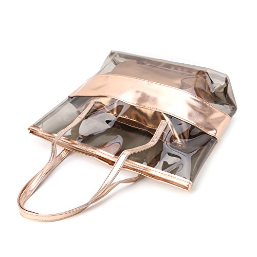 Women Clear Tote Dabixx Jelly Shoulder Handbag Bag Blue Transparent Beach Bags Shopping Champagne Rwnw8WdX4q