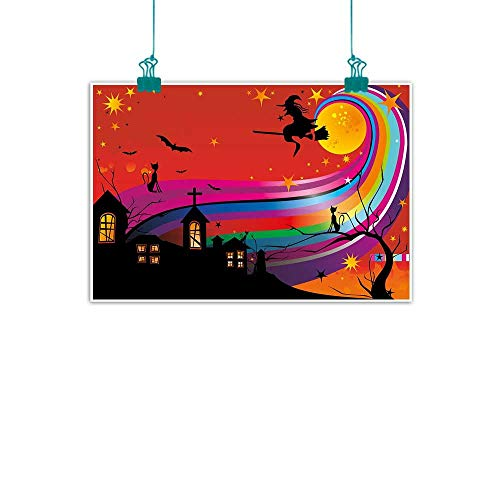 Warm Family Halloween Abstract Painting Witch Woman on Broomstick Bats Cat Stars Rainbow Moon Castle Abstract Colorful Natural Art 24