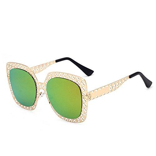 Plein green Creux soleil Plage de léger Ultra de Air Miroir Métal Lunettes Personnalité Sports Creux Lunettes de Mesdames Soleil UpS07