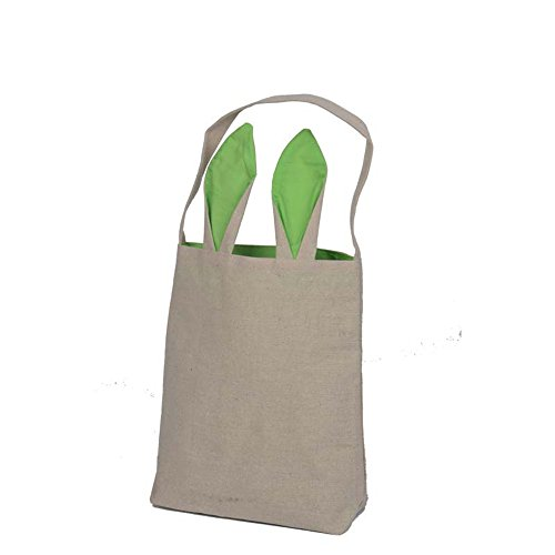 ONGLYP 100% Cotton&Jute Easter Bunny Bags Fastness Tote Easter Gifts or Eggs Pocket Bunny Ears Design Basket,10''x12''x3.9'' (Green)