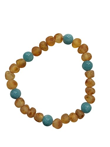 Raw Baltic Amber and Blue Quartz Adult Bracelet - Pain Relief for Carpel Tunnel, Joint Pain, Anti-Inflammatory, Headaches