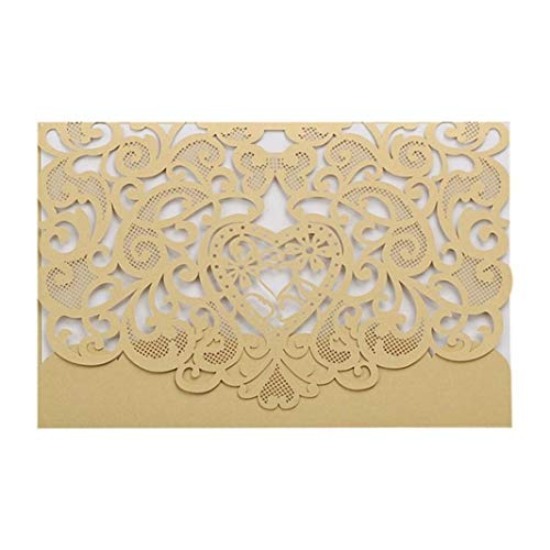 Wedding Invitations 20pcs Laser Cut Party Invitations Cards Heart-Shaped Rustic Greeting Cards for Quinceanera Banquet