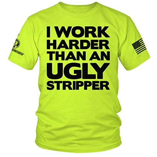 Work Harder Than an Ugly Stripper - Hi Vis Safety Yellow Funny Construction Work Shirt (MD) by Armed American Supply (Image #1)