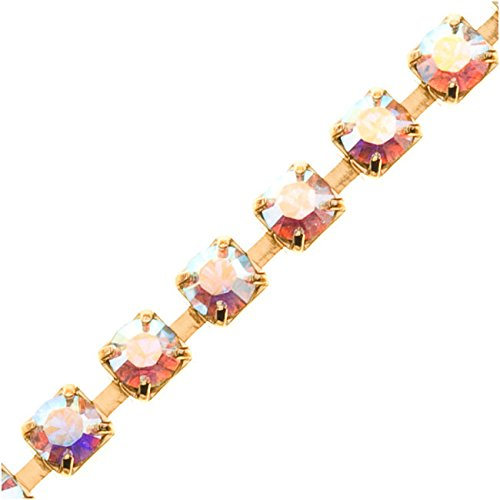(Swarovski Elements Gold Plated Rhinestone Cup Chain 24PP Crystal AB - by The FT)