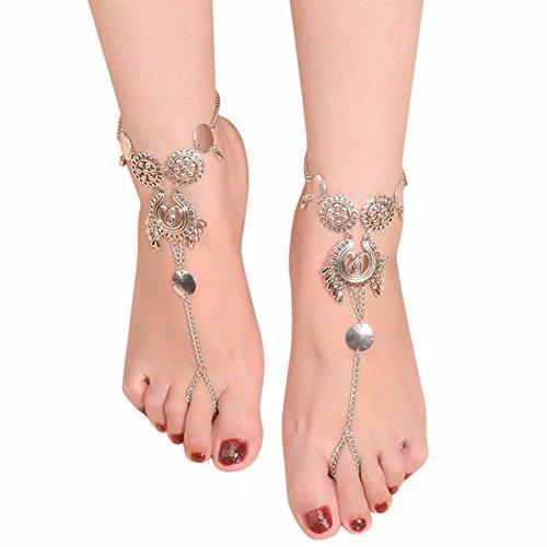 Saengthong Boho Women Anklet Tibatan Silver Harness Foot Ankle Chain Bracelet Barefoot Gift