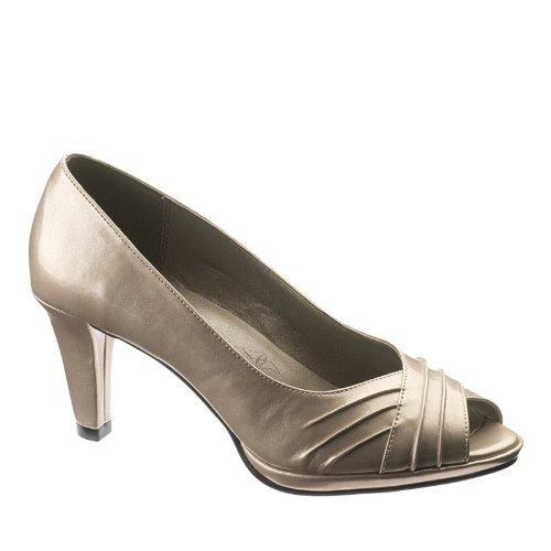 Hush Puppies Soft Style Womens Fayth Open-Toe Pump Bone Pearlized Patent