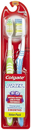 Colgate Plus Toothbrush, Full Head, Soft - 2 ct - 2 - Toothbrush Colgate Plus