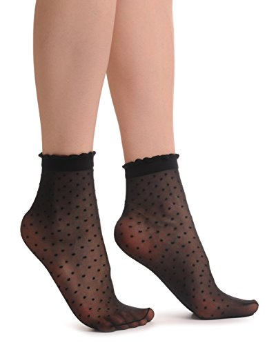 Small Polka Dots And Rounded Trim Top Socks Ankle High 15 Den - Socks ()