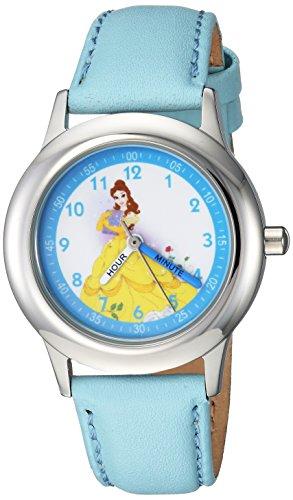 Disney Girl's 'Princess Belle' Quartz Stainless Steel Casual Watch, Color:Blue (Model: WDS000191)