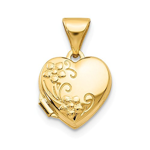 14k Yellow Gold Floral Heart Photo Pendant Charm Locket Chain Necklace That Holds Pictures Fine Jewelry Gifts For Women For Her ()