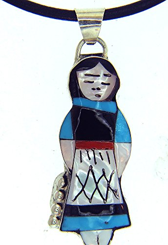 Nim Pendant - Rich Peel by Zuni Artist Joyce Waseta Native American Indian Doll Pendant/Necklace (16 Inches)