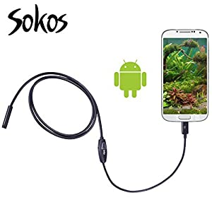 Endoscope, Snake Camera, Sokos Micro USB Borescope Waterproof Inspection Camera for Laptops and USB OTG Compatible Android Smartphones