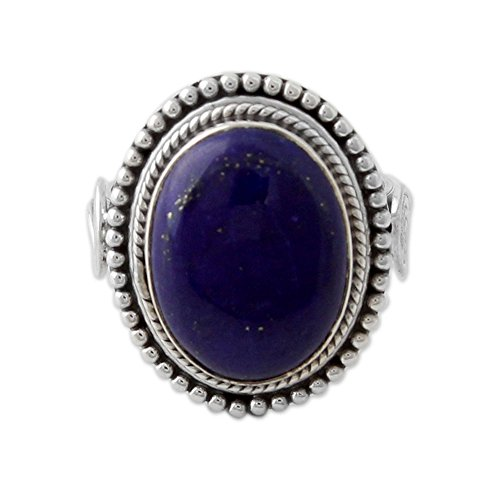 (NOVICA Lapis Lazuli .925 Sterling Silver Cocktail Ring, 'Royal Blue Glow')