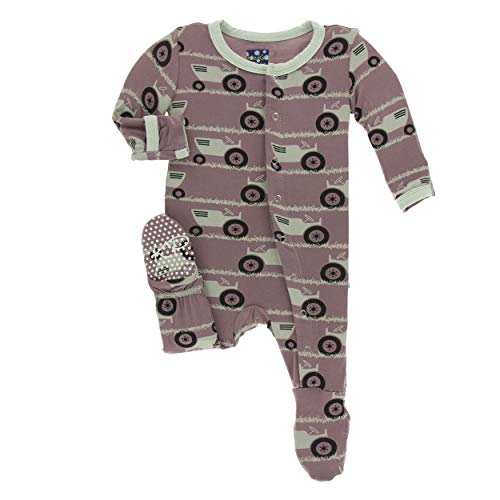 (Kickee Pants Little Boys Print Footie with Snaps - Raisin Tractor and Grass, 12-18 Months)