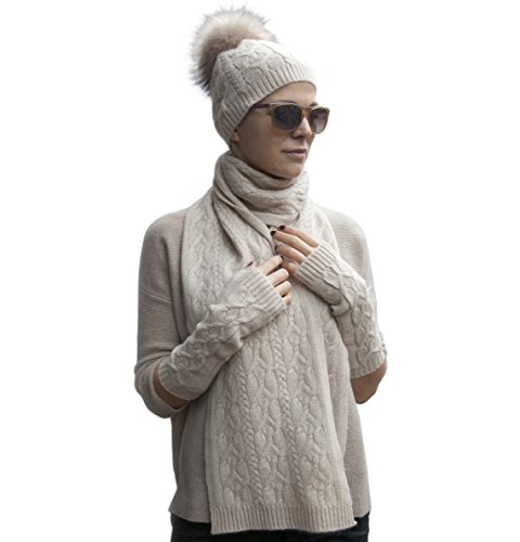 Warm 100% Cashmere Braided Scarf, Pom-pom Hat And Mittens Women's Winter Set (Beige)