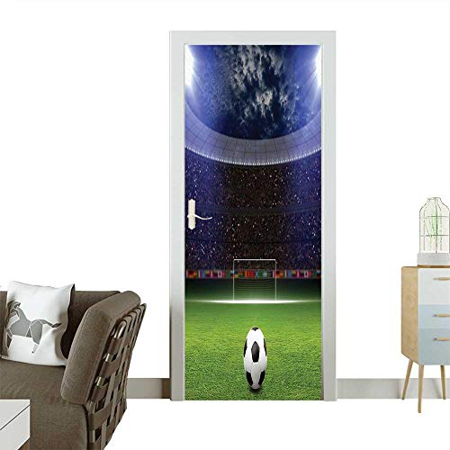 Homesonne Modern Art Door Sticker Soccer Ball on Stadium Arena in Night Illuminated Bright Spotlights Cheering FA Environmentally Friendly decorationW23 x H70 -