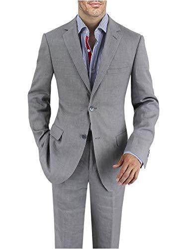 DTI BB Signature Italian Men's Linen Suit Modern Fit 2 Button Jacket Plain Pant (36 Short US / 46S EU/W 30
