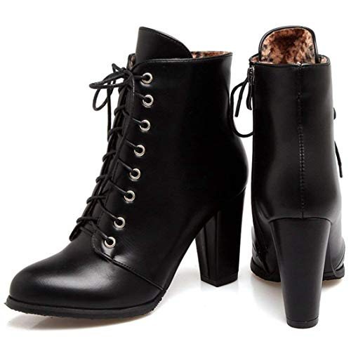 Lace Ladies Black Chunky Womens Autumn Winter Vitalo Ankle Booties Heel Boots Up High pqw758a
