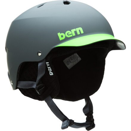 Bern Watts EPS Matte Grey/Green Brim Helmet with Black Knit (Small/Medium), Outdoor Stuffs