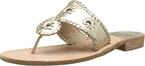 Jack Rogers Women's Hamptons Sandal, Platinum, 6.5 M US