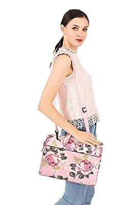 Mosiso Laptop Shoulder Bag Canvas Rose Pattern Laptop Shoulder Messenger Handbag Case Cover Sleeve