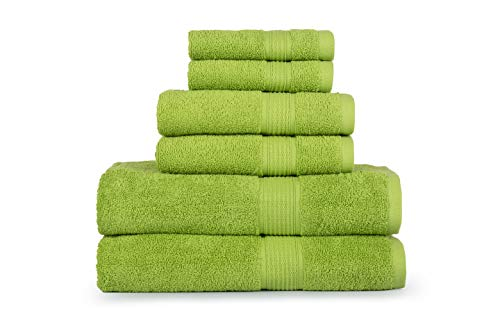 (CASA LINO Hydro Basics Fade-Resistant 6-Piece Cotton Towel Set, 100% Cotton Terry Bathroom Set, Soft, Absorbent, Machine Washable, Quick Dry (Lime)