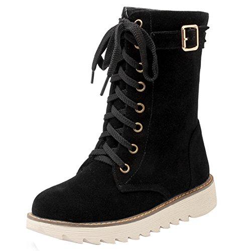 AIYOUMEI Damen Herbst Winter Flach Kurz Stiefel mit Schnürung und Schnalle Bequem Schnürstiefeletten Schwarz
