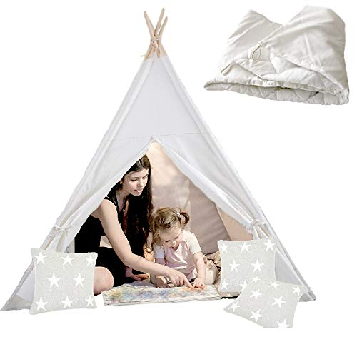 Fivestarsun Canvas Teepee Tent for Kids with Thick Cushion Mat | Easy To Set Up