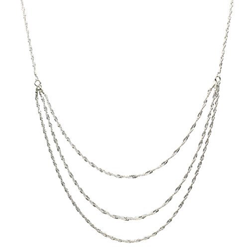 Sterling Silver One-to-three Strand Singapore Chain Necklace Italy Adjustable 18