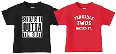 Kid Allstar Two Year Old 2nd Birthday Straight Outta Timeout/Terrible Twos T-Shirt Combo