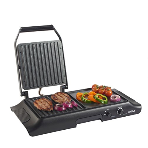 VonShef Electric Grill Griddle, Sandwich, Panini Press and Griddle Plate