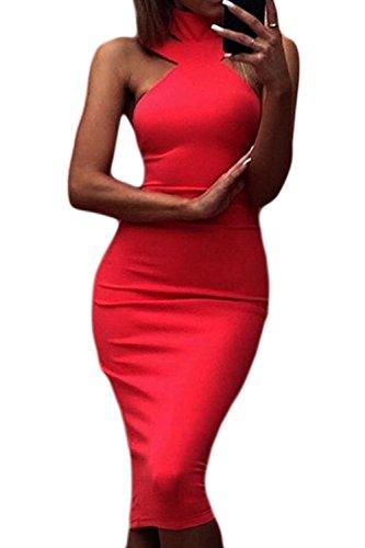 Vestido Sin Gargantilla out Elegante Hollow Backless Bodycon De Verano Mangas Midi Club Vestido Jumojufol Red Mujer P8cHSpB