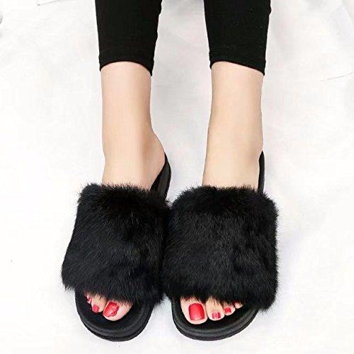 intérieur Soft Flat beginning fausse glisser Flop Flip fourrure Noir sandale Femmes Open Toe chaussures sur Auspicious extérieur Tw1IOqT