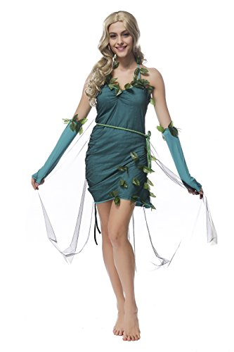 Dryad Costume (Women's Forest Dryad Backless MIni Dress for Costume Party (Green))