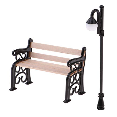 CUTICATE Miniature Park Bench Street Light Set for 1/12 Dollhouse Garden or Living Room Decor, Creating Colorful Life Scenes ()
