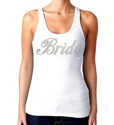 Bridal Party Rhinestones Tank Top White (Juniors) S-XL