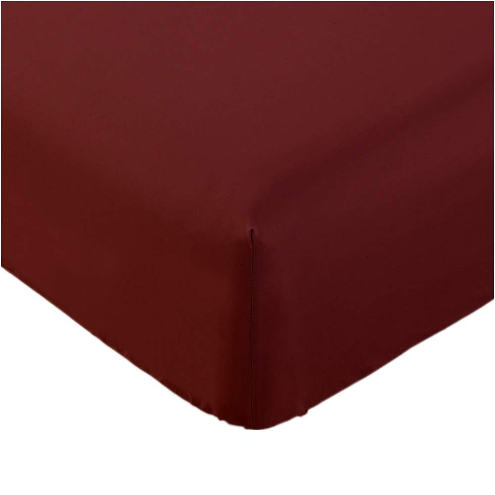 Mellanni Fitted Sheet Twin Burgundy - Brushed Microfiber 1800 Bedding - Wrinkle, Fade, Stain Resistant - Hypoallergenic - 1 Fitted Sheet Only (Twin, Burgundy)