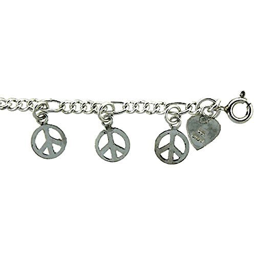 Sterling Silver Peace Sign Cha