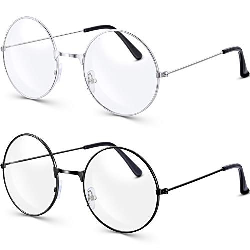 BM Bememo 2 Pairs of Wizard Glasses Round Wire Costume Glasses Accessories for Dressing Up (Black and Silver)]()