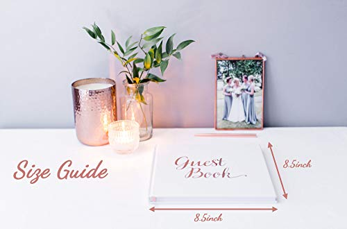 [New] Blank Wedding Guest Book Guestbook Rose Gold & White Paper with NO Lines - Registry Books - Rosegold Foil Stamping and 180GSM Paper 32 Pages 64 Sides Square Photo #6