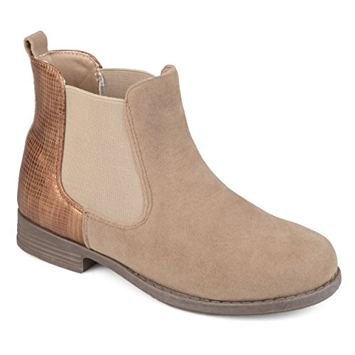 Journee Collection Kids Faux Suede Two-Tone Chelsea Boots Beige, 2 Regular US