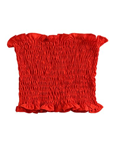 MakeMeChic Women's Sexy Strapless Bandeau Tube Crop Tops Red (Ruffle Tube Top)