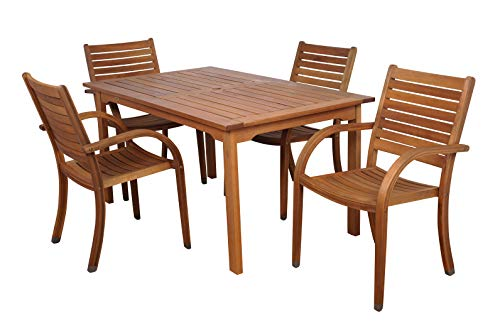 Amazonia Arizona 5-Piece Patio Rectangular Dining Table Set | Eucalyptus Wood |...